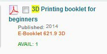 3D Printing Brief Citation OPAC Display